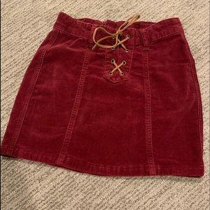 Girls burgundy jean skirt